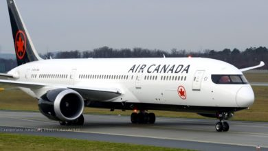 Big white Air Canada jet on runway.