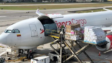 An Avianca white plane is being loaded with cargo.
