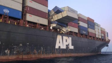 Photo of Forty containers fall off APL England