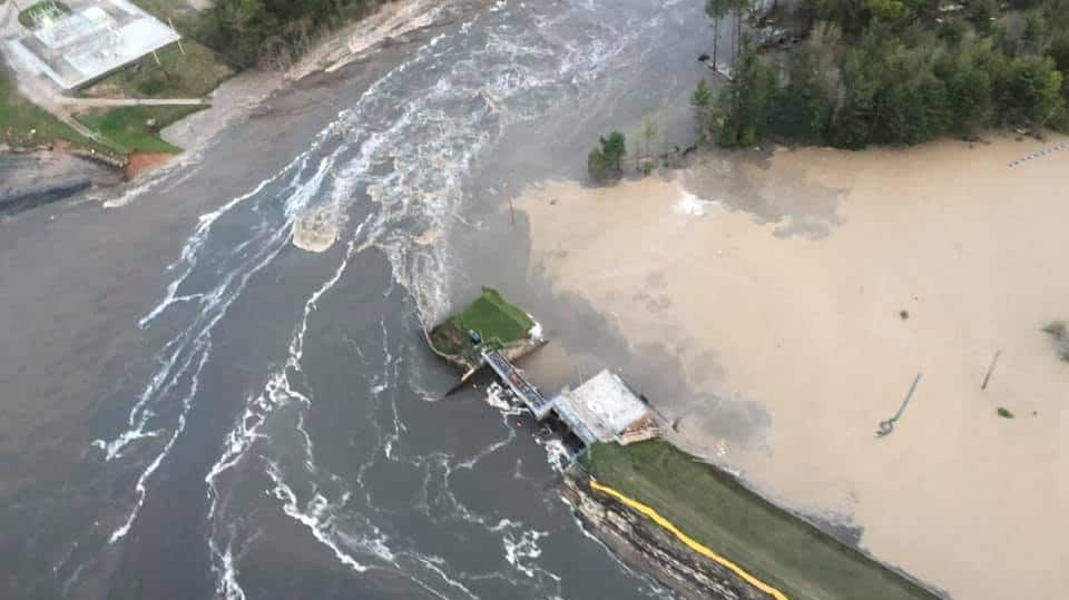 Aerial photo of major flooding in Midland, Michigan on May 20, 2020.