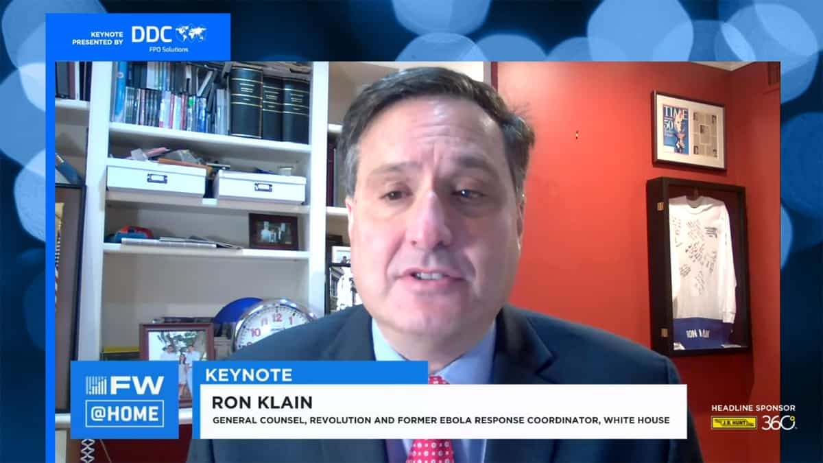 Ron Klain talking from home on video conference about pandemic.