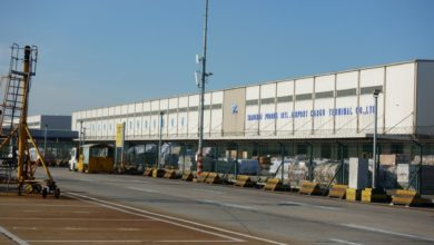 Cargo terminal at Shanghai Airport.