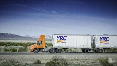 YRC double on highway
