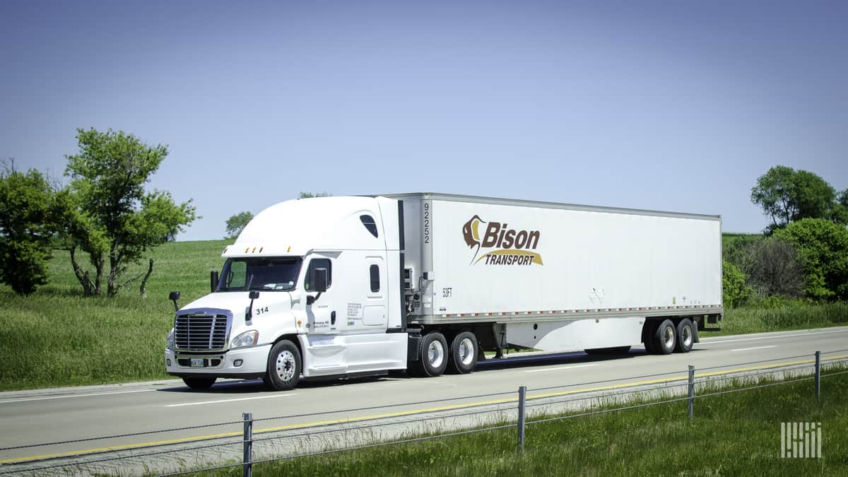 A tractor-trailer of Bison Transport
