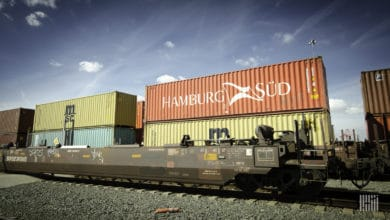 A photograph of four intermodal containers.