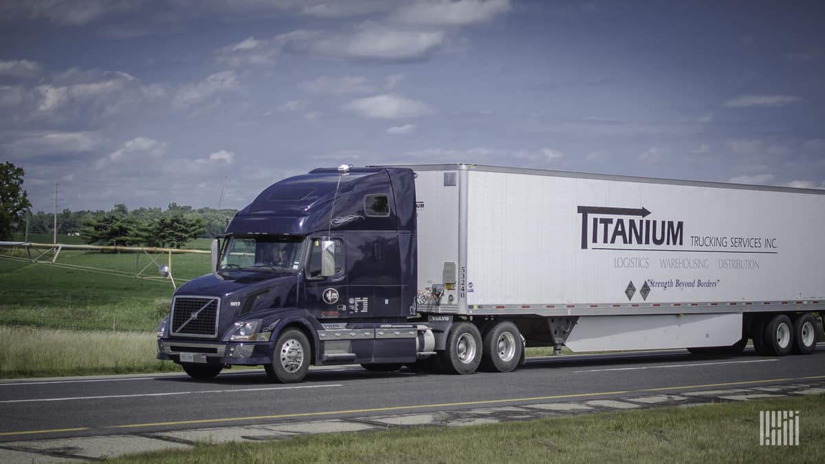 A tractor-trailer of Titanium Transportation Group. Titanium's U.S. brokerage helped increase revenue in the first quarter.