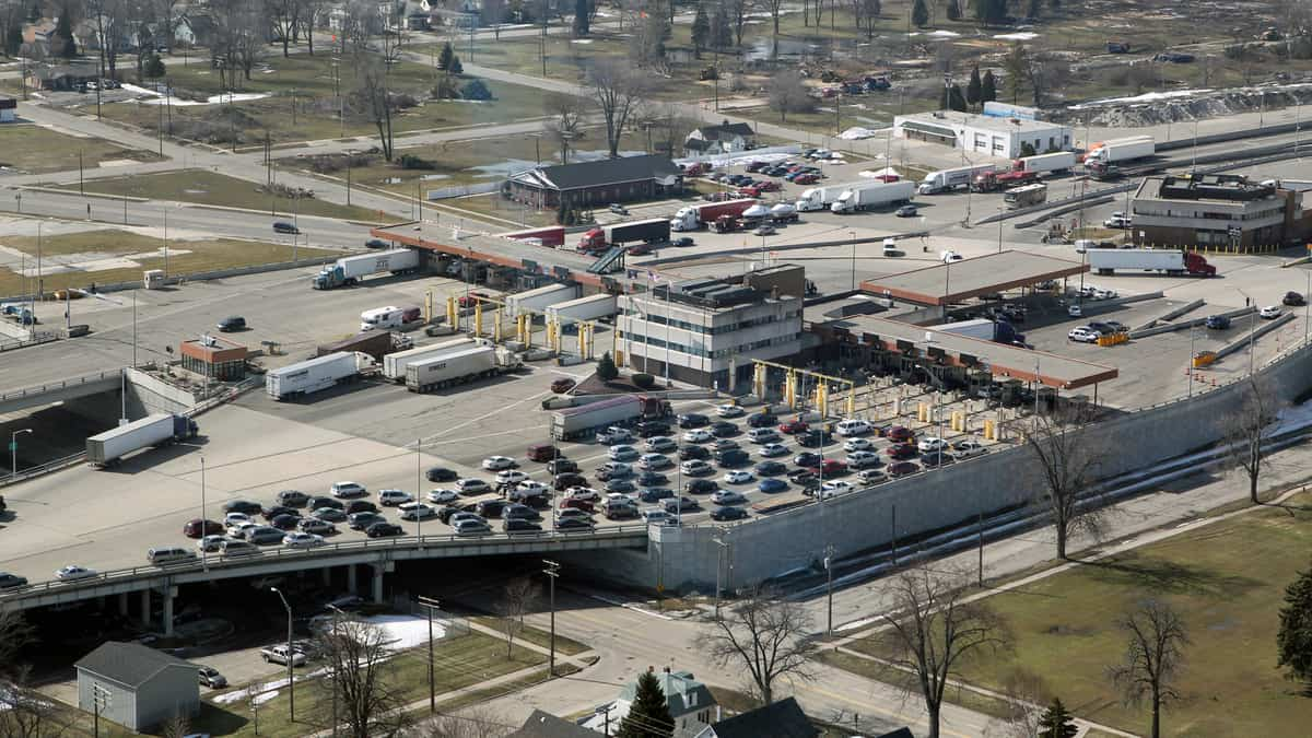 The U.S.-Canada border crossing at Blue Water Bridge links Port Huron, Michigan and Point Edward, Ontario