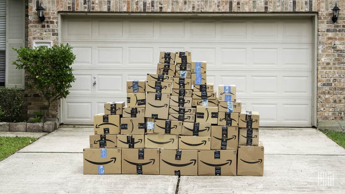 Amazon packages in driveway