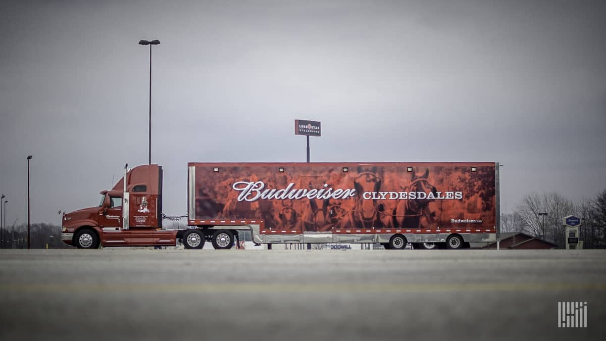 An Anheuser-Busch tractor-trailer; the company has assisted during the COVID-19 pandemic.