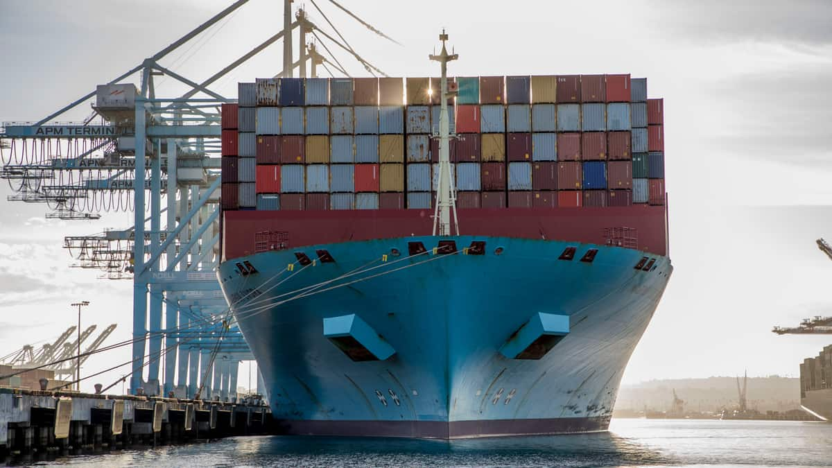A Maersk containership at the Port of Los Angeles. (Photo: Port of Los Angeles)