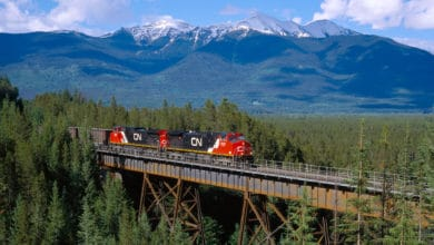 A photograph of a train crossing a bridge. There is mountain range behind the train, and the bridge is in the middle of a forest.