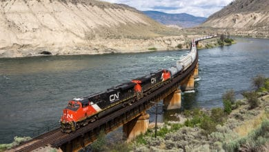 A photograph of a train on a bridge that's crossing a lake.