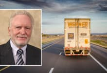 Picture of Clarence L. Werner and Werner truck headed down highway