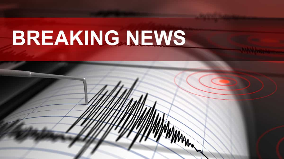 Breaking news earthquake banner with Richter scale readout.