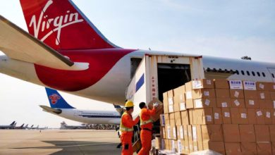 Boxes being loaded in rear door of plane with red tail.
