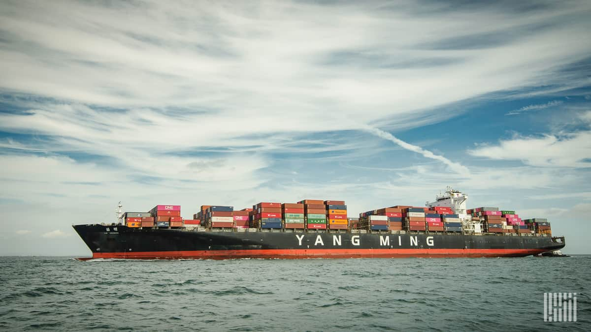 A Chinese container ship at sea.