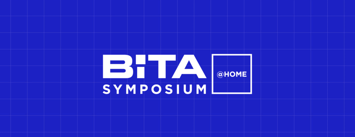 Blue background that says BiTA Symposium at Home