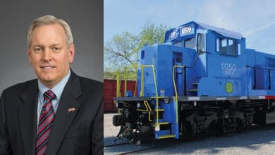 Two photographs next to each other. On the left is a portrait of a man in a suit. On the right is photograph of a freight train locomotive.