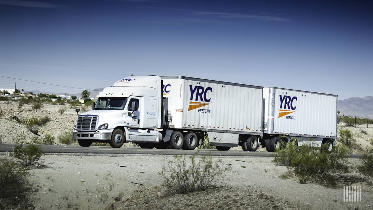 YRC LTL rig on highway