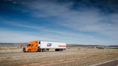 A tractor-trailer of MCT Transportation. TFI has acquired most of MCT's assets.