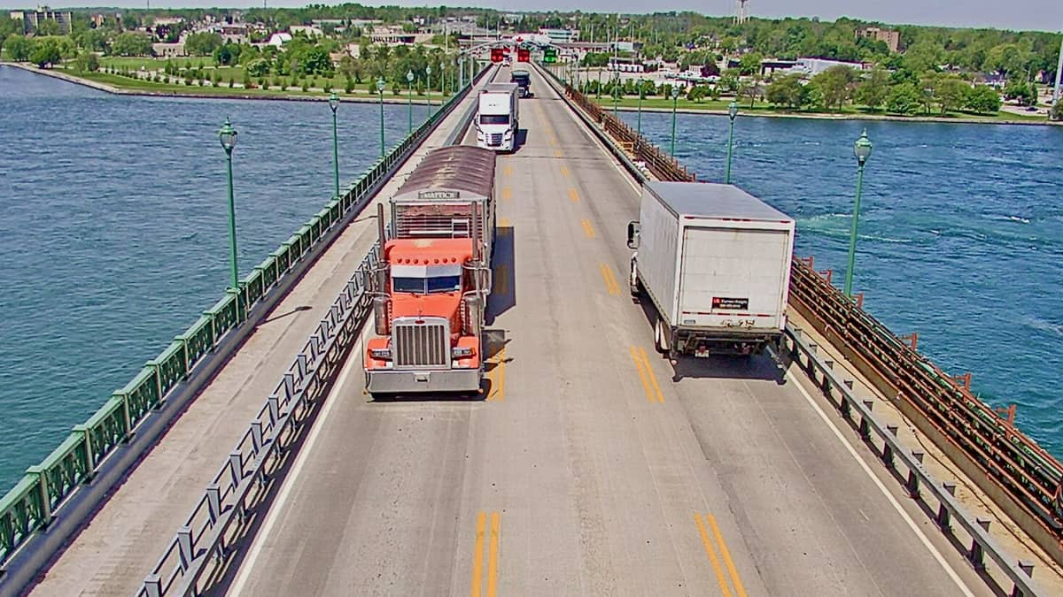 A view from a live web camera of trucks crossing the U.S-Canada border via the Peace Bridge