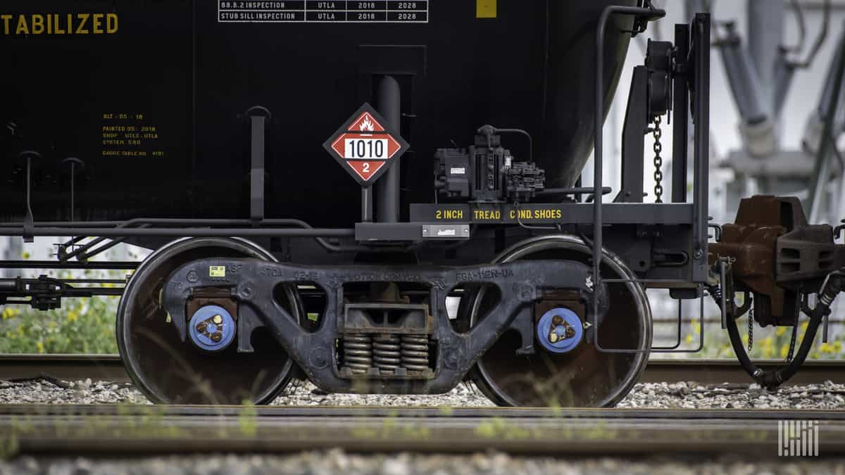 A close-up photograph of the wheels of a railcar.