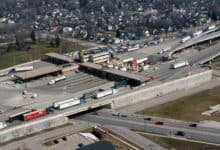 An aerial view of the U.S.-Canada border crossing at Blue Water Bridge. The border will remain closed for nonessential travel until at least July 21