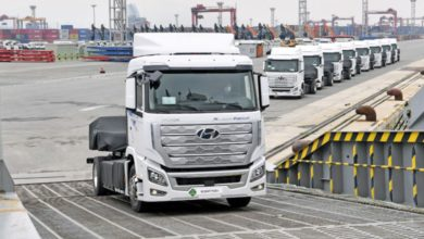 Photo of Fuel cell trucks enroute from Korea to Switzerland