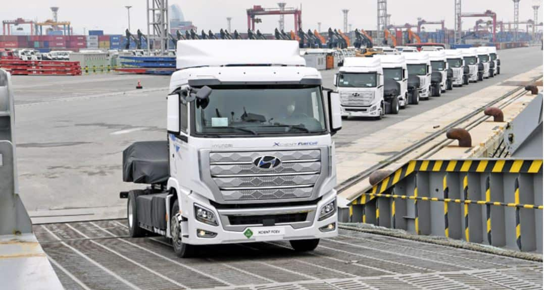 Hyundai Xcient trucks shipping to Switzerland