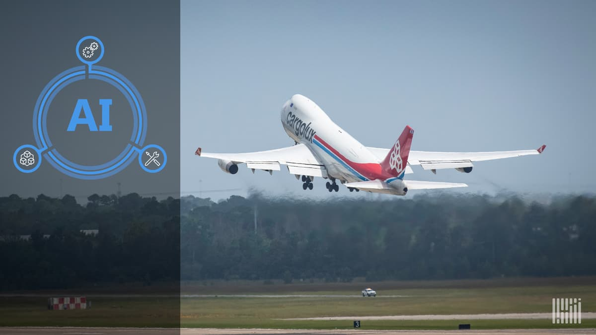 A CargoLux freighter takes off from an airport.
