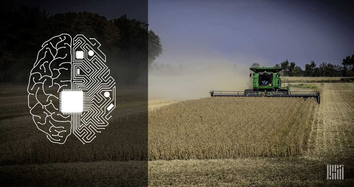 Will AI be used by individual farmers in the near future? A Photo of a combine in a field.