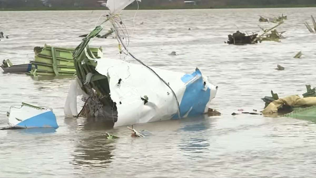 Debris of an Amazon Air cargo plane scattered in a swamp in Trinity Bay, Texas. The plane was operated by Atlas Air and investigators say the probable cause is pilot error.