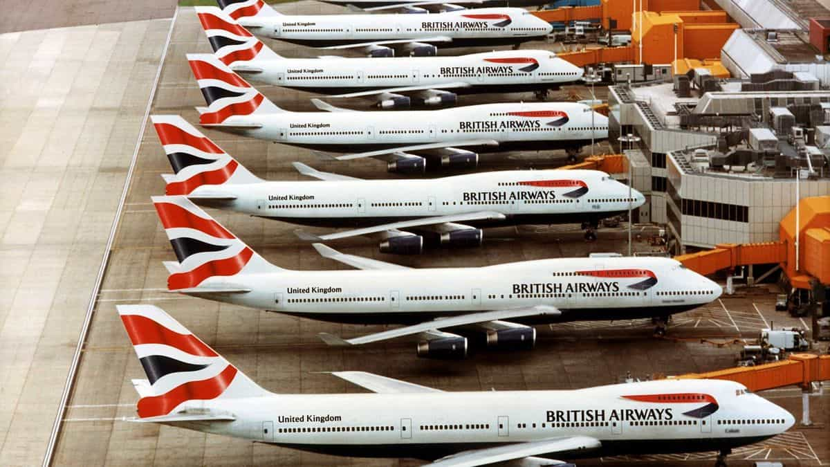 British Airways 747-400 jumbo jets lined up at the airport gate. British Airways is retiring the planes, which were not the most efficient from a fuel or cargo perspective.