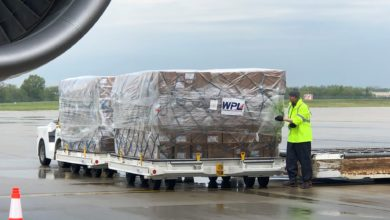 Big load of cargo on a pallet at the airport.