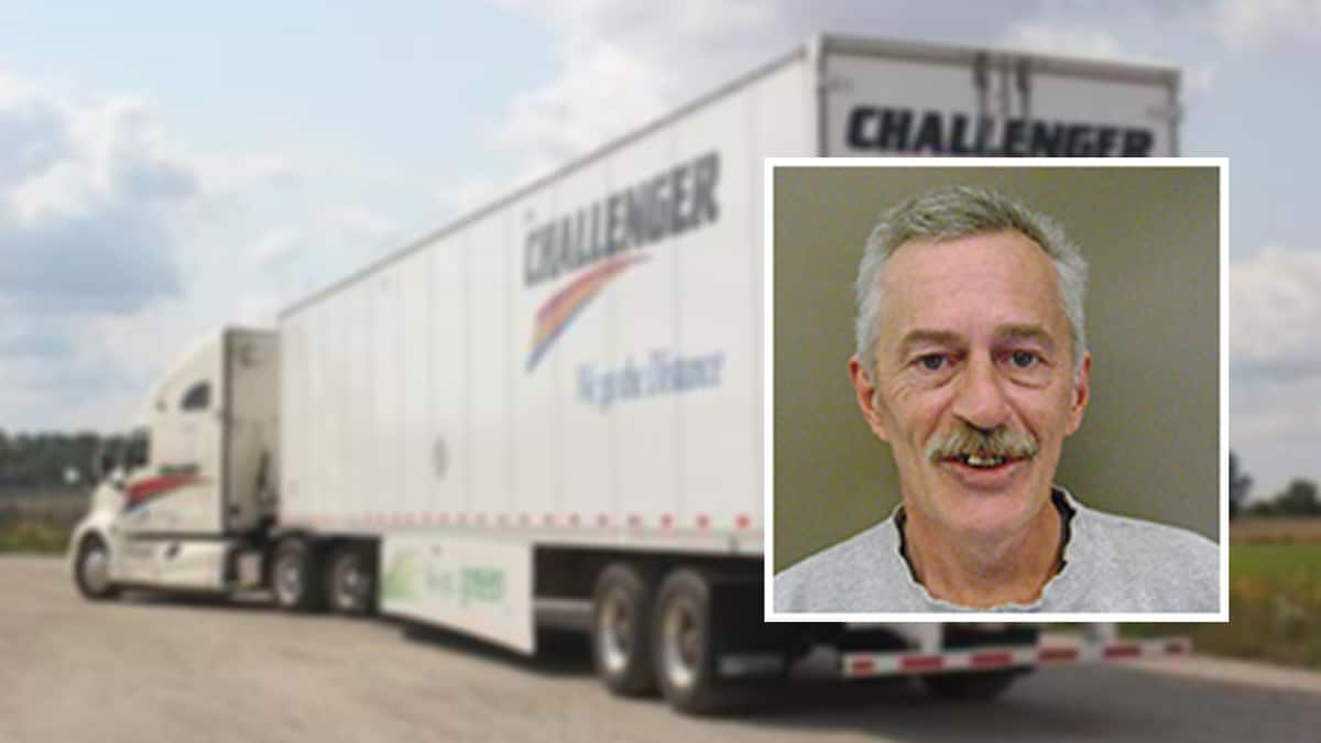 Photo of driver David Hill superimposed next to Challenger Motor Freight tractor-trailer.