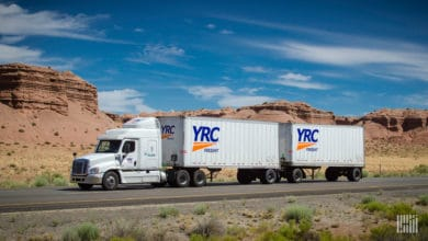 YRC Freight double in the desert