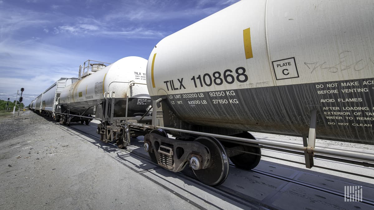A photograph of a row or Trinity-manufactured tank cars.