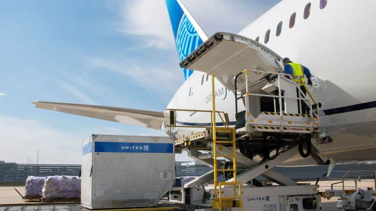 Hydraulic lift platform lifts cargo pallets to door of United Airlines jet. United Airlines has figured out how to make money off of cargo during the pandemic.