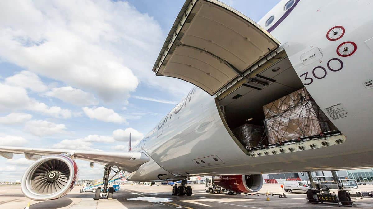 Cargo shown in the hold of a Virgin Atlantic passenger jet. Virgin Atlantic secured private funding to stave off bankruptcy.