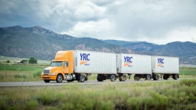 YRC Freight triple on highway