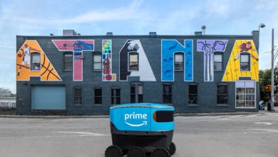 Photo of Amazon delivery robots head south