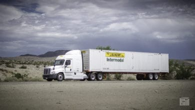J.B. Hunt intermodal truck on highway