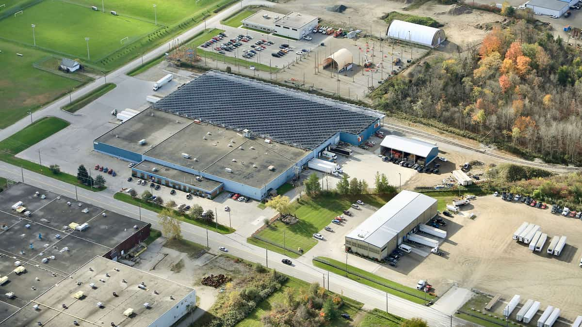 An aerial view of Ontario Refrigerated Services, a Canadian cold storage provider being acquired by Lineage Logistics.