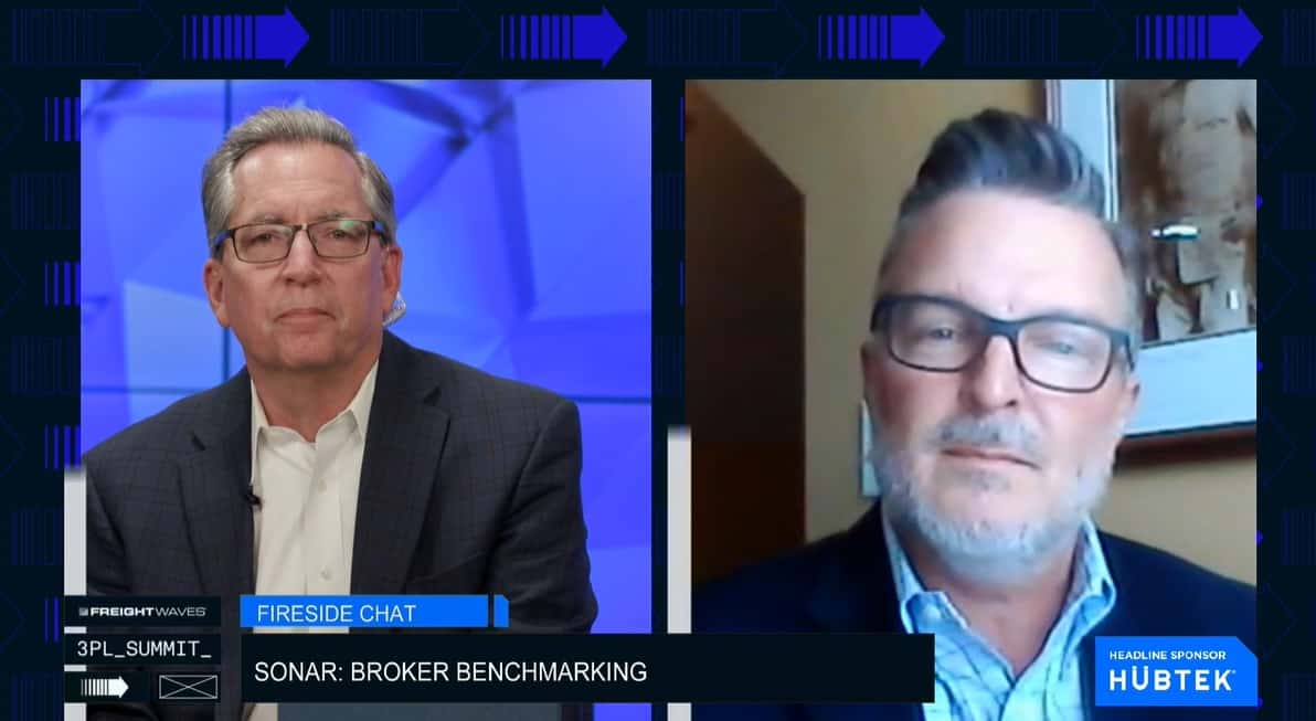 FreightWaves President George Abernathy and VP of Customer Success & Benchmarking Todd Davis talk broker benchmarking program at FreightWaves 3PL Summit