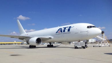 A white jet parked on sunny day. Air Transport International released its earnings Wednesday.