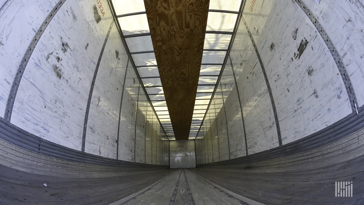 The interior of an empty trailer photographed from a super-wide angle from the floor.