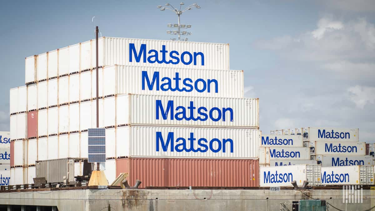 Matson containers positioned almost by themselves in this part of a port holding area.