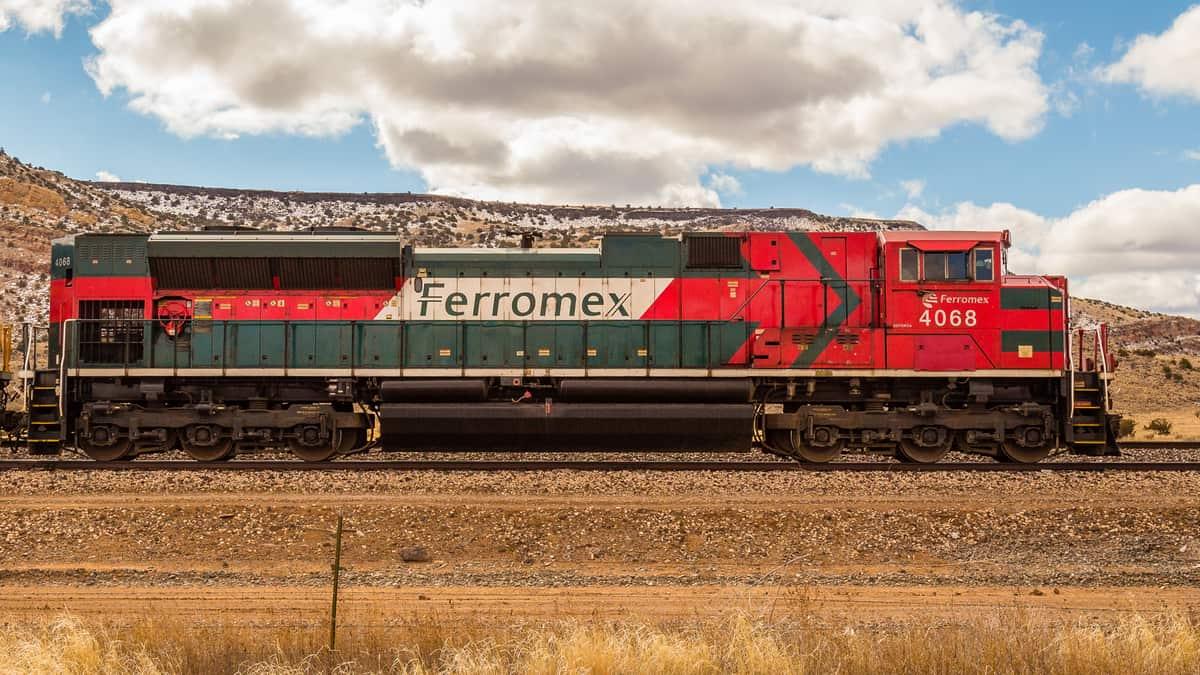 A Ferromex locomotive is painted in the national colors of Mexico.