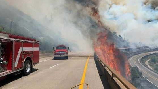 Fire trucks on highway near the Grizzly Creek wildfire in Colorado.