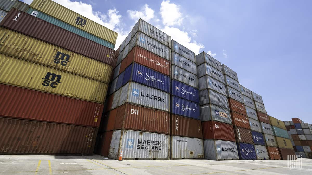 Containers are stacked 7-high at a U.S. port.
